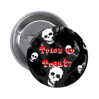 Skull Spectres B&W red 'Trick or Treat?' button