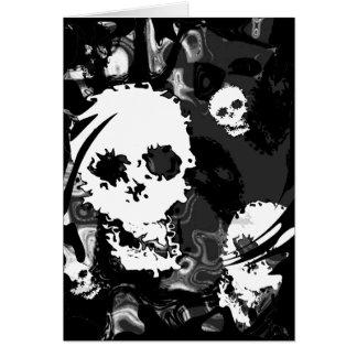Skull Spectres B&W swirl greetings card