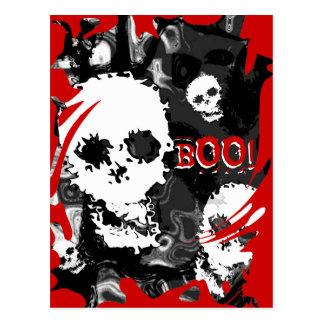 Skull Spectres B&W swirl red 'Boo!' postcard