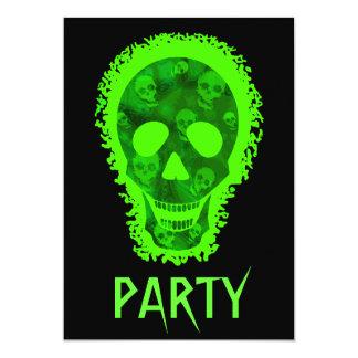 Skull Spectres Big Skull Green 'Party' invitation