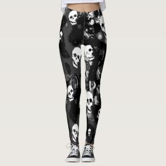 Skull Spectres Black and White leggings
