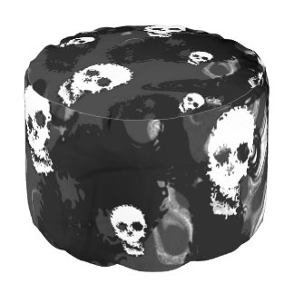 Skull Spectres Black and White pouf Round Pouffe