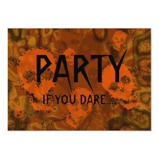 Skull Spectres Orange 'Party..If you dare' 13 Cm X 18 Cm Invitation Card