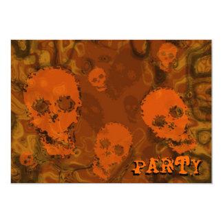 Skull Spectres Orange 'Party' invitation