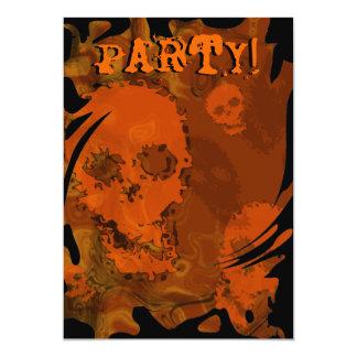 Skull Spectres Orange 'Party' swirl invitation