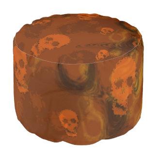 Skull Spectres Orange pouf Round Pouffe
