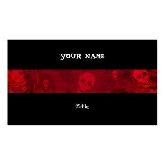 Skull Spectres Red stripe horizontal black back Pack Of Standard Business Cards