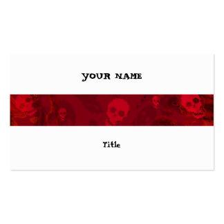 Skull Spectres Red stripe horizontal white back Pack Of Standard Business Cards
