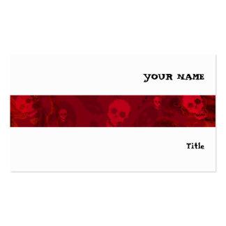 Skull Spectres Red stripe horizontal white Pack Of Standard Business Cards