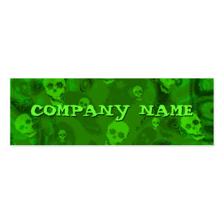Skull Spectres small horizontal green skinny Pack Of Skinny Business Cards