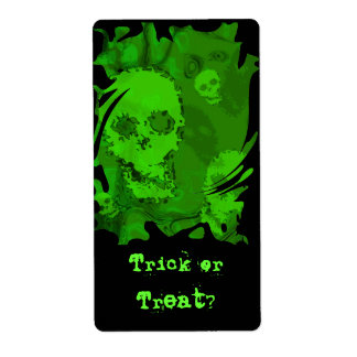 Skull Spectres 'Trick or Treat?' label Shipping Label