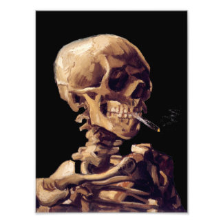 Skull with a burning cigarette by Van Gogh Photo Print