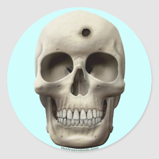 Skull with Bullet Hole Round Sticker