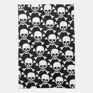 Skull with cross bones skull on black background tea towel