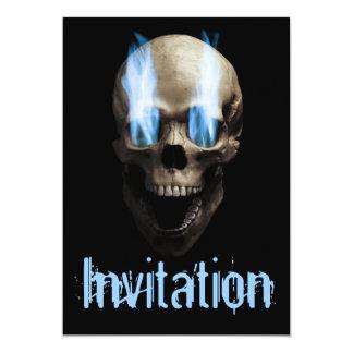 Skull with flaming eyes custom invitation