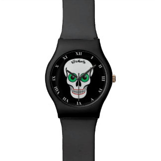 Skull with Green Eyes and Red Lips Watches