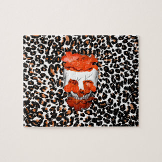Skull With Orange Flowers on Leopard Print Jigsaw Puzzle