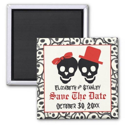 Skulls Halloween red black wedding Save the Date Refrigerator Magnets