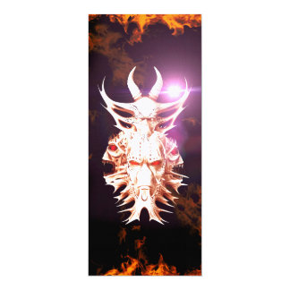 Skulls surrounded by fire and flames 4x9.25 paper invitation card