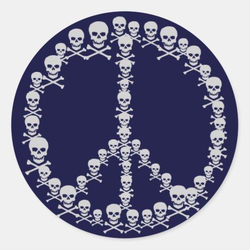 Skully Peace Sign Sticker