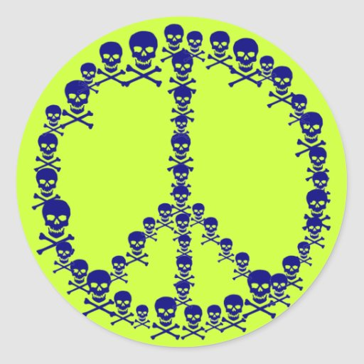 Skully Peace Sign Round Sticker