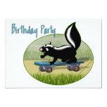 Skunk on a Skateboard  Birthday Invitation 13 Cm X 18 Cm Invitation Card
