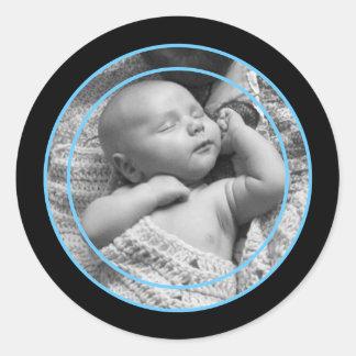 Sky Blue and Black Photo Frame Round Sticker