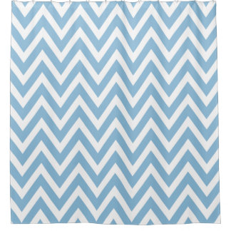 Sky Blue and White Chevron Shower Curtain