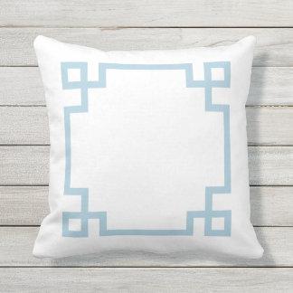 Sky Blue and White Greek Key Throw Pillow