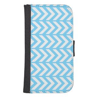 Sky Blue Chevron 3 Samsung S4 Wallet Case