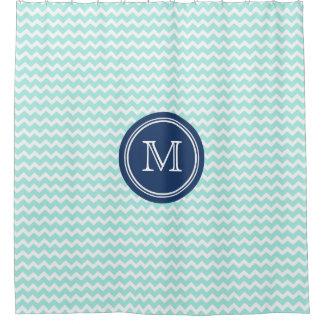 Sky Blue Chevron Navy Blue Monogram Shower Curtain