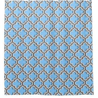 Sky Blue Dk Gray White Moroccan Quatrefoil #5DS Shower Curtain