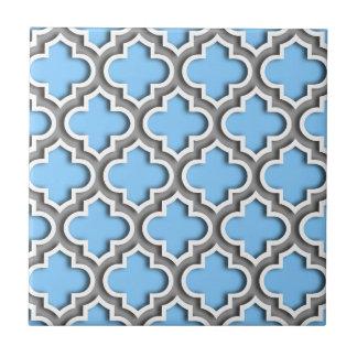 Sky Blue Dk Gray White Moroccan Quatrefoil #5DS Small Square Tile