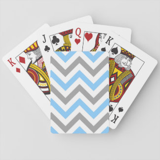 Sky Blue, Dk Gray Wht Large Chevron ZigZag Pattern Playing Cards