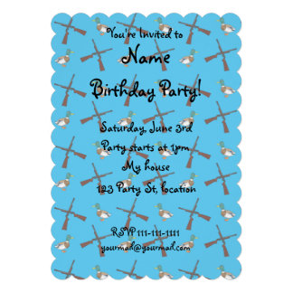 Sky blue duck hunting pattern personalized invites