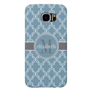 Sky Blue Gray White Moroccan Quatrefoil Monogram Samsung Galaxy S6 Cases