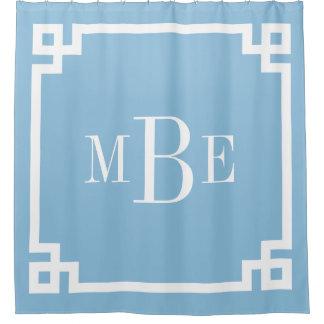 Sky Blue Greek Key Border Monogram Shower Curtain