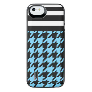 Sky Blue Houndstooth w/ Stripes 2 iPhone SE/5/5s Battery Case