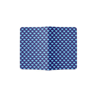 Sky Blue Little Heart Pattern Dark Blue Background Passport Holder