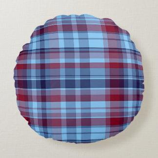 Sky Blue Navy Burgundy Preppy Madras Round Cushion