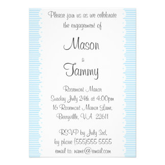 Sky Blue Pinstripes Engagement Party Invitation