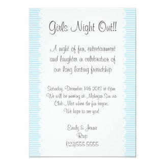 Sky Blue Pinstripes Girls Night Out Invitation