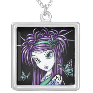 """""""Sky"""" Blue Rose Tattoo Butterfly Fairy Necklace"""