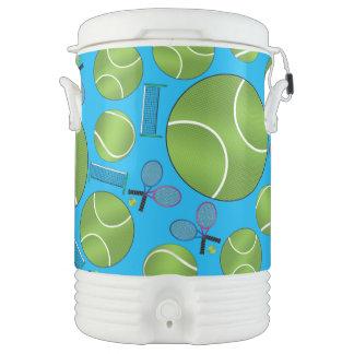 Sky blue tennis balls rackets and nets drinks cooler