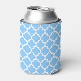 Sky Blue White Moroccan Quatrefoil Pattern #5 Can Cooler