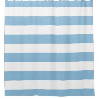 Sky Blue Wide Stripes Shower Curtain