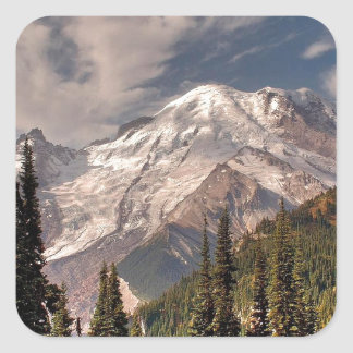 Sky Cold Peaceful Mountians Square Stickers