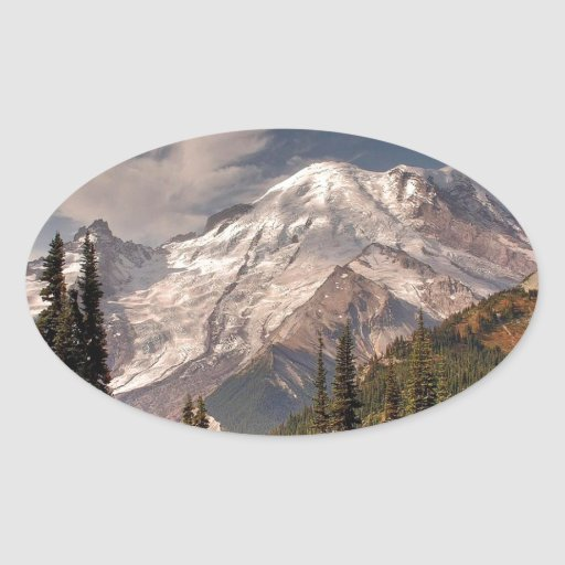 Sky Cold Peaceful Mountians Oval Sticker
