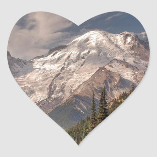 Sky Cold Peaceful Mountians Heart Sticker