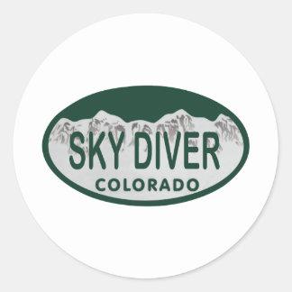sky diver license oval classic round sticker